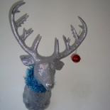Reindeer head, antlers, dangles