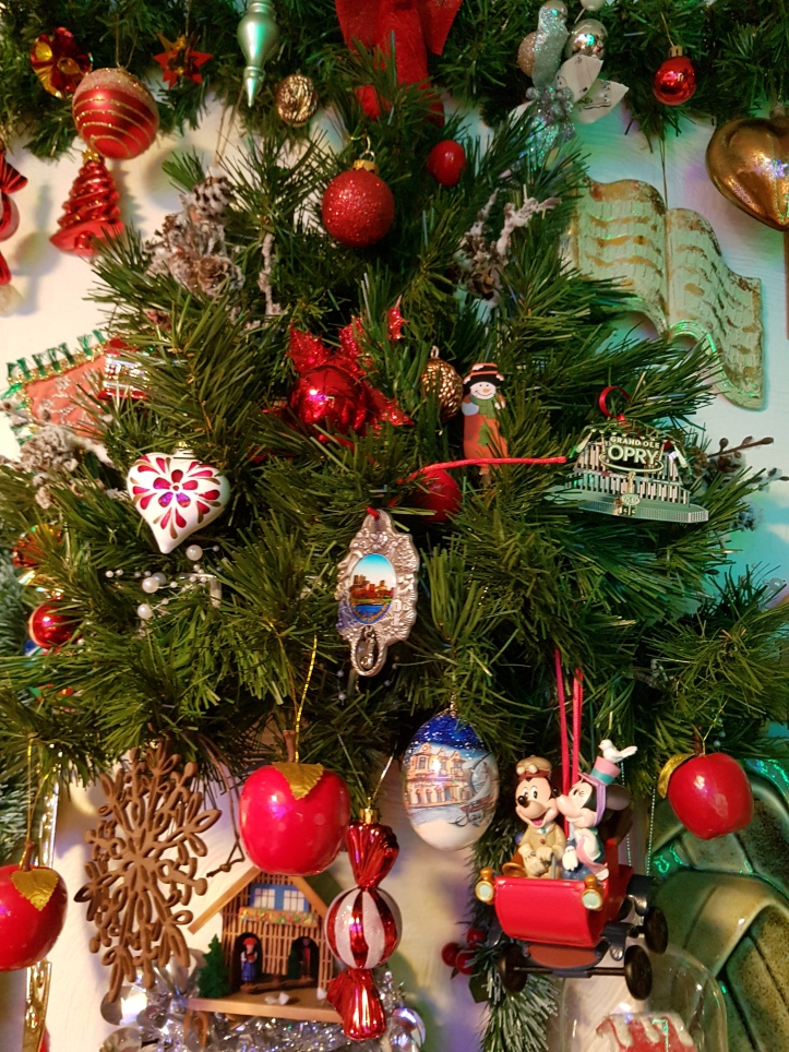 Tree decorations including Mickey and Minnie