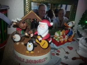 Reindeer on banjo and Santa on guitar, musical decoration