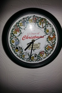 12 days of Christmas on clock face