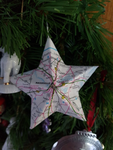 Ornament featuring map of Nashville area as a star