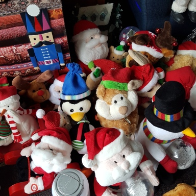Toys - santas and snowmenbears, a penguin