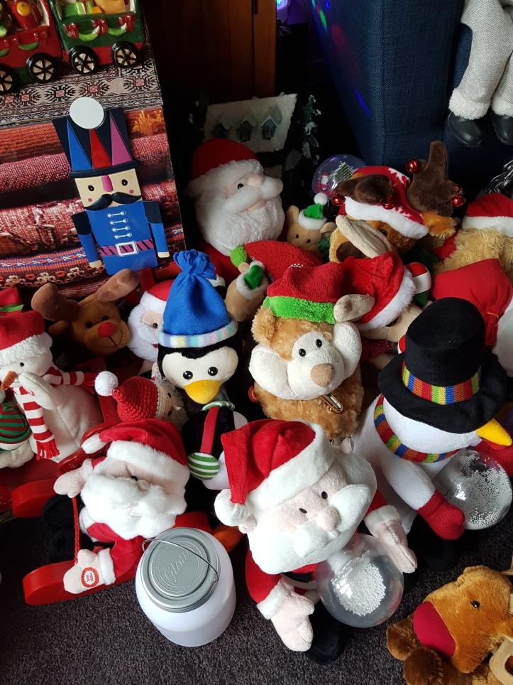 Toys - santas and snowmenbears, a penguin