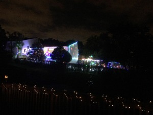 House all lit up, and lights around the garden - blaze of colour