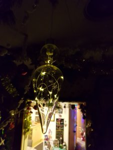 Large glass bulb with twinkling fairy lights inside