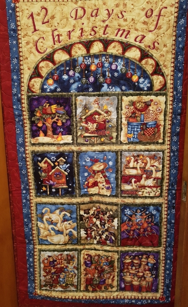 Quilt style wall hanging featuring the 12 days of Christmas as in the song