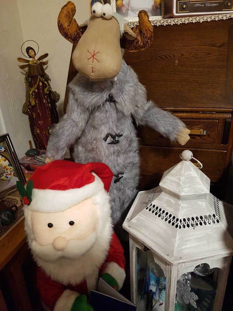 Santa and Moose - large