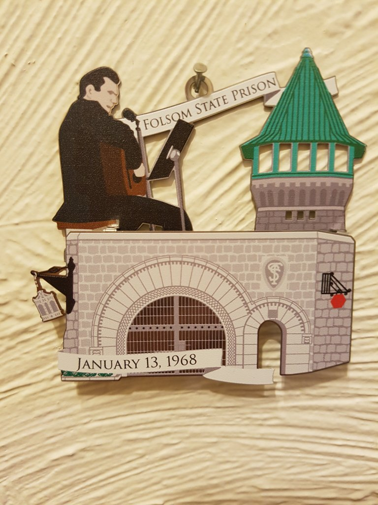 Folsom State Prison ornament featuring Johnny Cash and the date reads January 13, 1968
