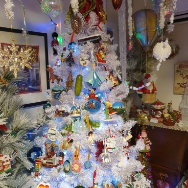 View of decorated white tree (7 ft high)