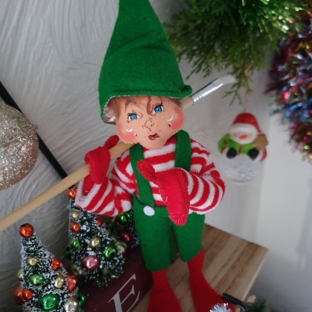 Soft toy - Christmas elf holding a paint brush; sparkles on hat and shoes