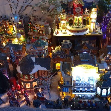 Lit up Christmas village