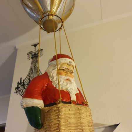 Large Santa in a hot air balloon