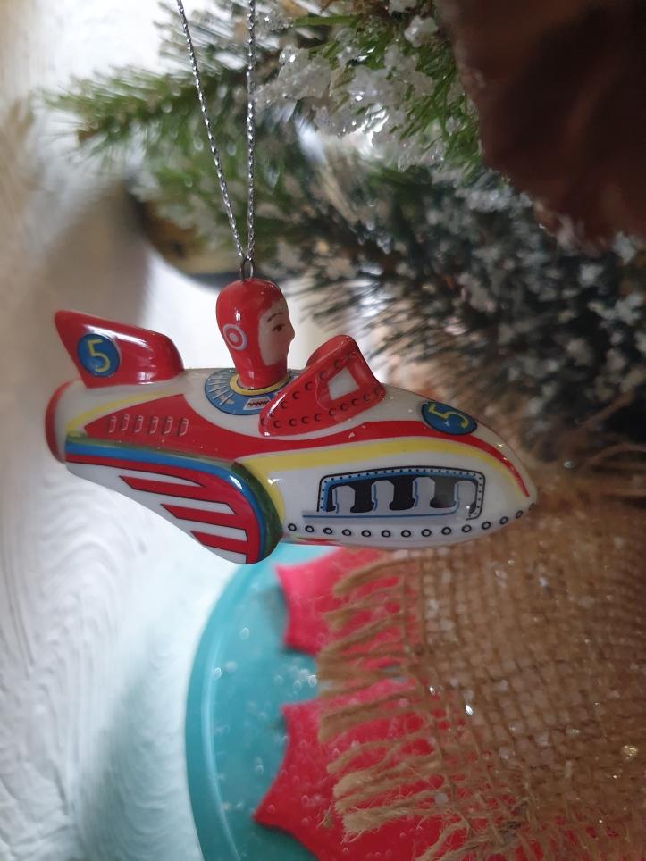Toy rocket ship tree ornament